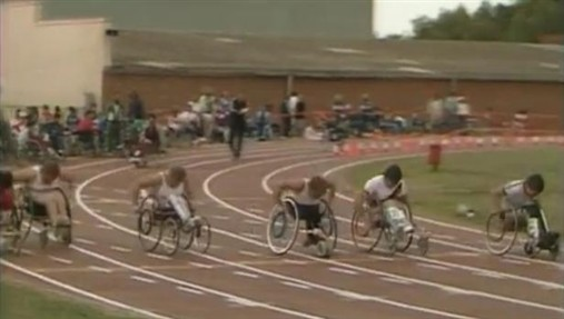 Photo:100 metres final; Paul Cartwright is second from left