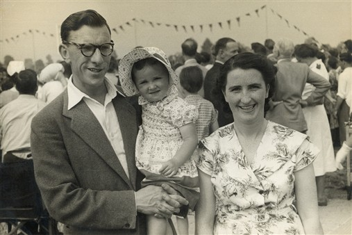 Photo:Mary and Jimmy Brennan with their daughter watching the 1955 Games at Stoke Mandeville. Mary and Jimmy were both nurses at the hospital.
