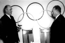 Photo:Guttmann accepting the Fearnley Cup from the  IOC in 1956