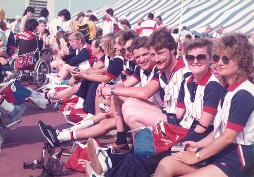 Photo:Tara (2nd on right) and some of the GB team at the 1984 New York games