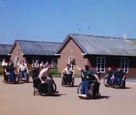 Photo:Wheelchair basketball at Stoke Mandeville in the 1960s